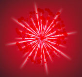 Abstract red background with rays. vector — Stockvektor