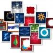 Collage of stamps for new year - Stock Photo