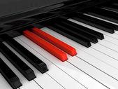 Piano red key — Stock Photo