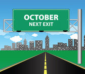 Next exit - october — Stock Vector