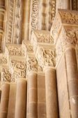Carved columns door of Lleida cathedral — Stock Photo