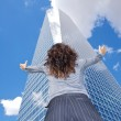 Back businesswoman adoring crystal skyscraper — Stockfoto #6857432