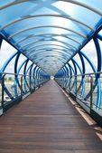 Modré a dřevo koridor — Stock fotografie
