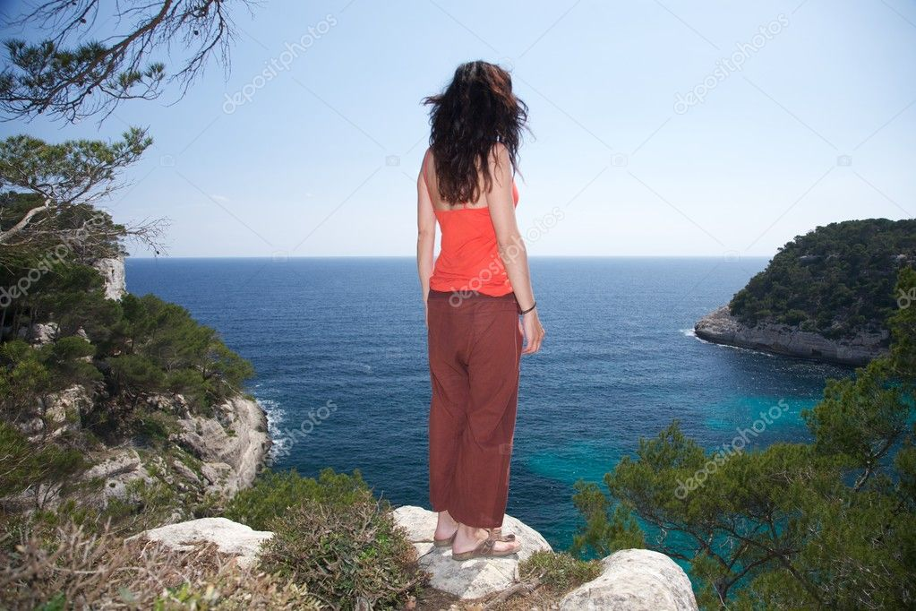 Woman on top at Menorca island in Spain — Stock Photo #6857351