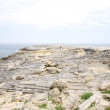 图库照片: Far woman on rock coastline