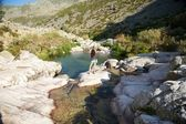 Happines at Gredos river — Stock Photo
