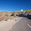 Rural road and observatories at La Palma — Stock Photo