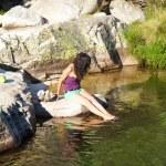 Sexy woman in a lake at Gredos — Stock Photo #6940899