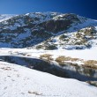 Snow mountain river at gredos — Stock Photo