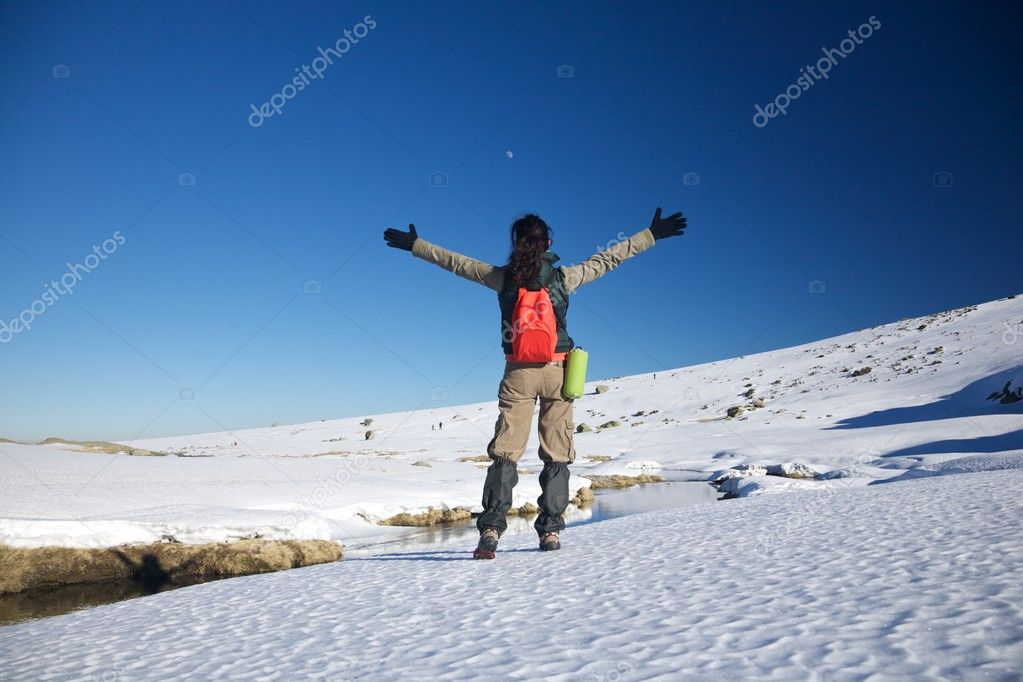 Woman at Gredos mountains in Avila Castilla Spain — Stock Photo #6940555