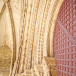 Arch detail of door at Lleida cathedral — Stock Photo #6965237