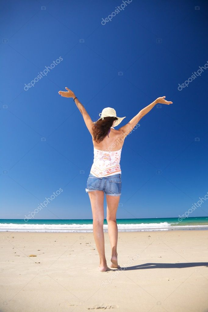 Woman at Zahara beach in Cadiz Andalusia Spain  Stock Photo #6965248