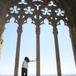 Woman watching Lleida from cathedral — Stock Photo #6994333