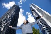 Woman adoring skyscrapers — Stock Photo