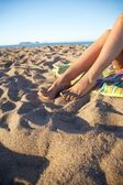 女人的脚和 medas 群岛 — 图库照片