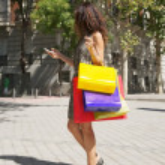 Shopper woman calling — Stock Photo