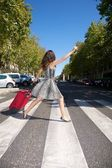 Hurry up traveler woman — Stock Photo