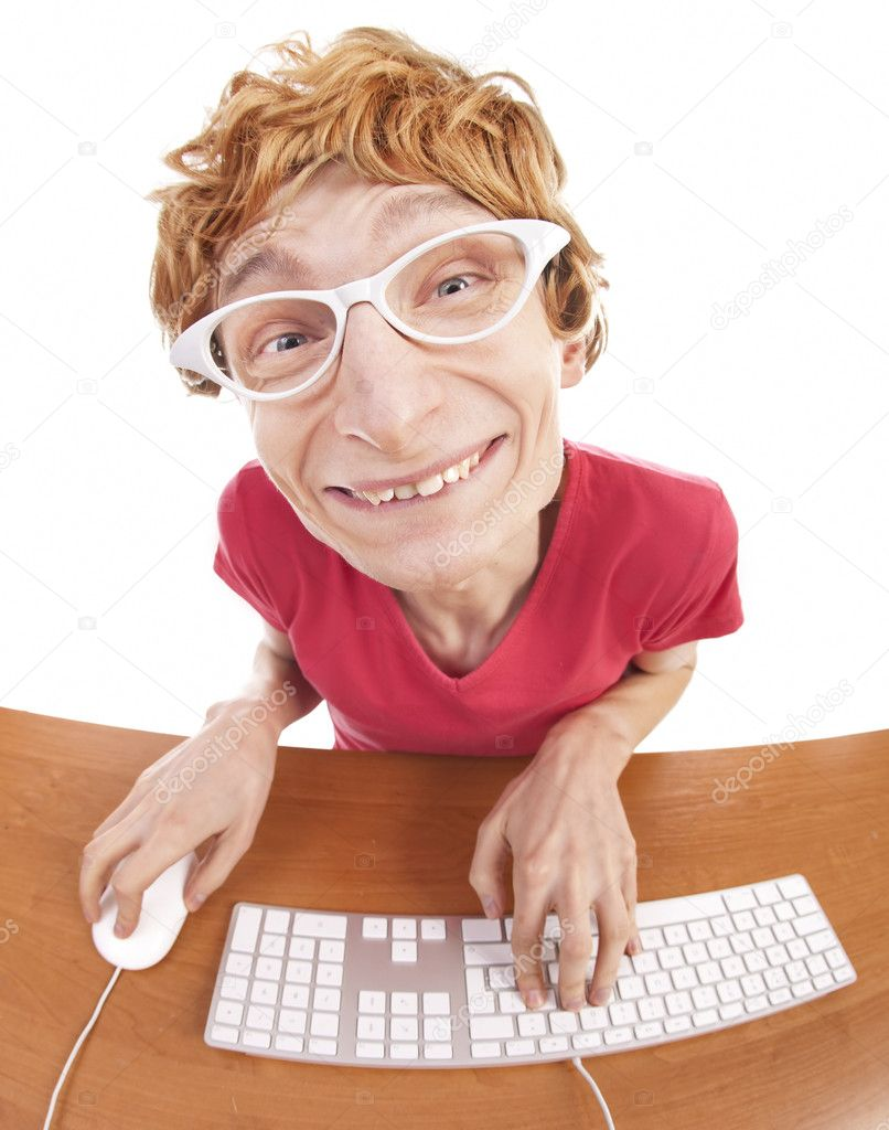 Funny guy at the computer — Stock Photo #7414496