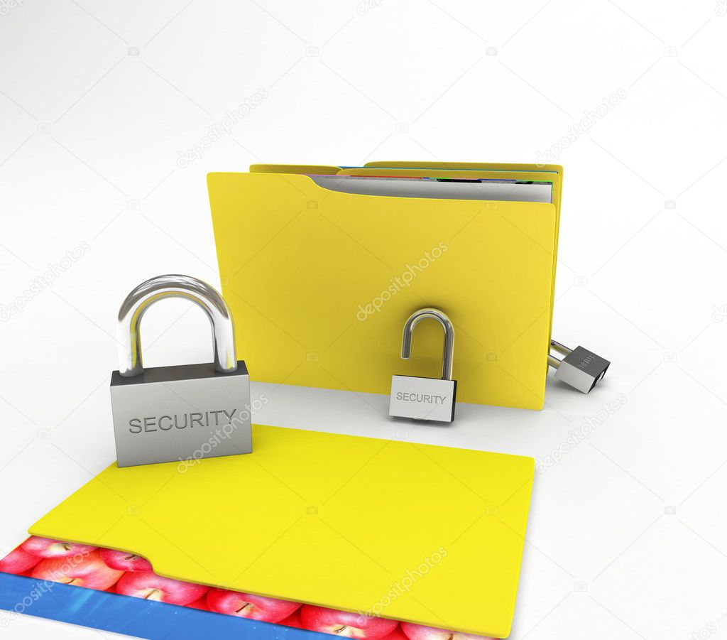 Folders and files under the protection from hacking — Stock Photo #6752771