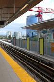 Light rail tracks & station in Richmond BC, Canada. — Stock Photo