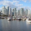 False Creek marina panorama & the Vancouver BC skyline, Canada. — Stock Photo