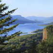 The Columbia River Gorge & Vista house, panorama. - Stock Photo