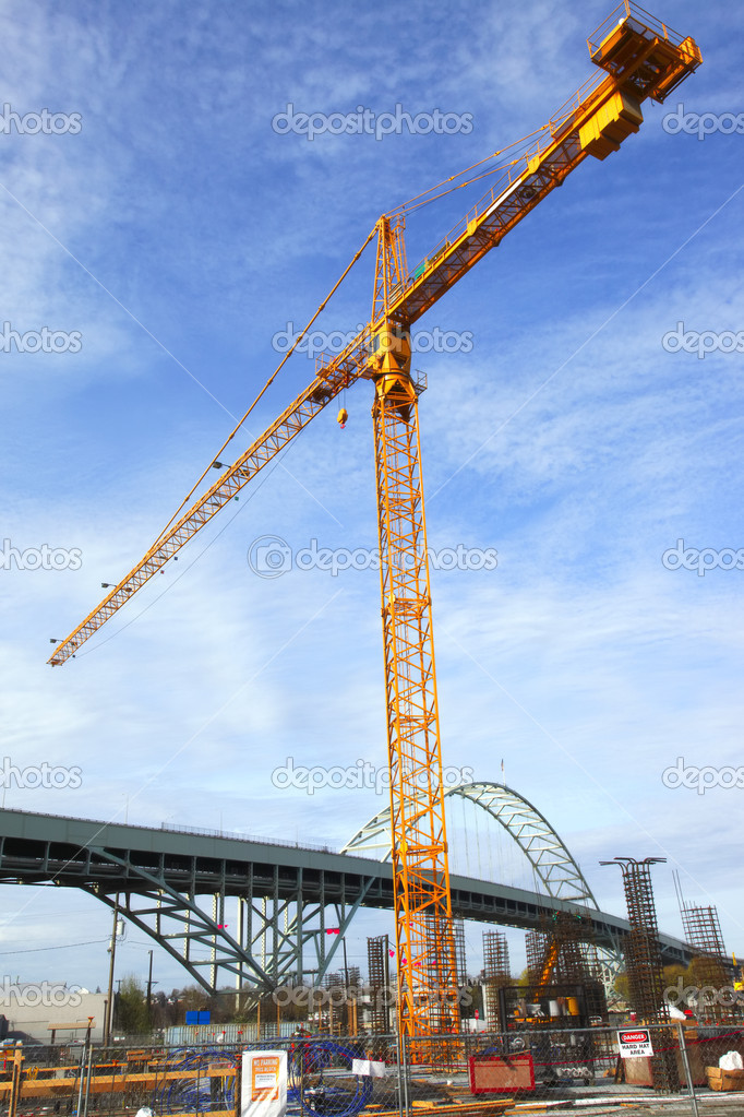Tall crane on a construction site in Portland OR. — Stock Photo #7524031