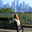 Kerry park overlook, and a lady photographer. - Stockfoto