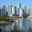 Vancouver BC south waterfront skyline & sailboats. — Stock Photo