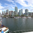 Panorama of False Creek & Vancouver BC skyline. - Stock Photo