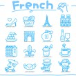 French,Europe,travel,landmark icon set — Stock Vector