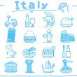 Italy,italian,Europe,travel,landmark icon set — Stock Vector #7857155