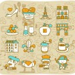 Travel,landmarks,French,Paris icon set - Stock Vector