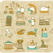 Stock Vector: Hand drawn travel,landmarks,Italy,Roma,europe icon set