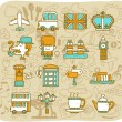 Travel,landmarks,UK,Britain icon set - Stock Vector
