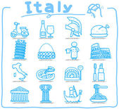 Italy,italian,Europe,travel,landmark icon set — Stock Vector