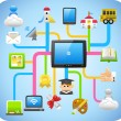 Study,education ,cloud computing concept — Stock Vector