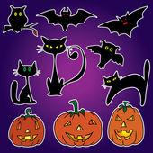 Etiquetas engomadas de Halloween — Vector de stock