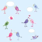 Uccelli - amore, incontri, relazioni — Vettoriale Stock