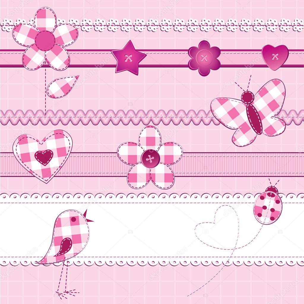 Scrapbook elements in pink — Stock Vector © toranoko #7109624