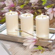 Elegant candles and flowers — Stock Photo