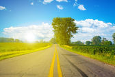 American Road with SunLight — Stock Photo