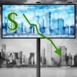 Billboard with stock market diagram — Stock Photo
