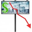 Billboard with stock market diagram (isolated illustration) — Stock Photo #6989594
