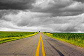Dark Stormy Sky on Iowa Interstate — Stock Photo