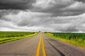 Dark Stormy Sky on Iowa Interstate — Stock Photo