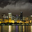 Foto de Stock  : Night View at Downtown Chicago and lake Michigan