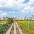 Stock Photo: Rail Road with Chicago in Background