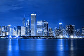 Clouds at financial district (night view Chicago) — Stock Photo