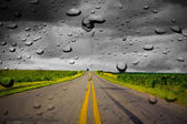 Rain on Road — Stock Photo